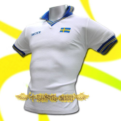 SWEDEN WHITE FOOTBALL COOL POLO T-SHIRT SOCCER Size M / M53