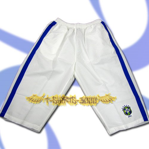 BRAZIL BRASIL WHITE FOOTBALL COOL SHORTS SOCCER / H30