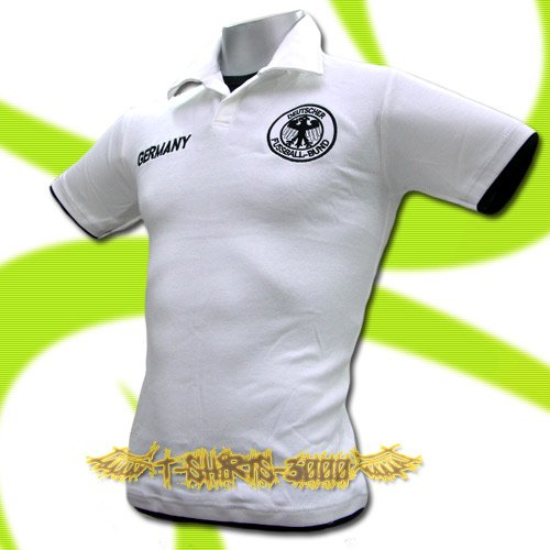 GERMANY WHITE GERMAN FOOTBALL POLO T-SHIRT SOCCER Size M / M66