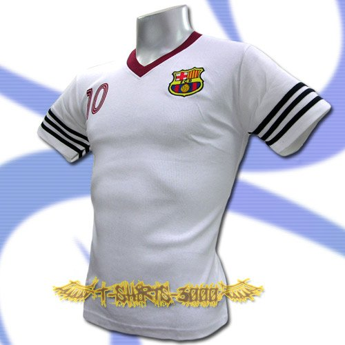 BARCELONA WHITE #10 FOOTBALL V NECK T SHIRT SOCCER Size M / J83