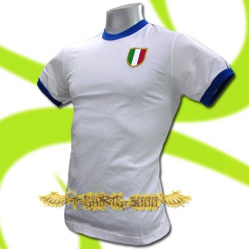 ITALY WHITE ITALIA FOOTBALL TEE T-SHIRT SOCCER Size M / K06