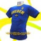 SWEDEN BLUE FOOTBALL TEE T SHIRT SOCCER Size L / L68