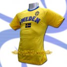 SWEDEN YELLOW FOOTBALL TEE T SHIRT SOCCER Size L / L70