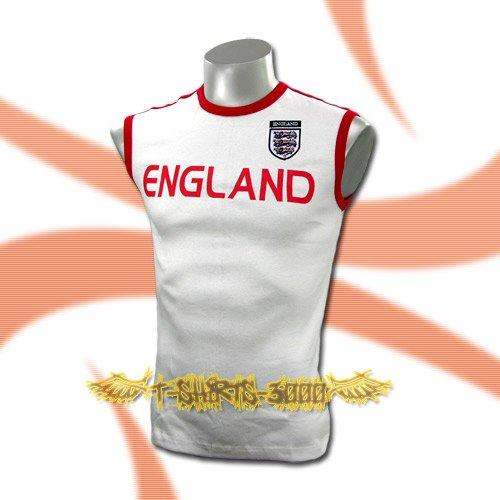 ENGLAND WHITE SLEEVELESS SOCCER T SHIRT FOOTBALL Size M / A69