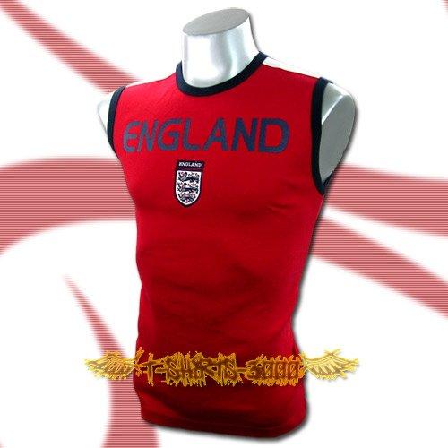 ENGLAND RED SLEEVELESS SOCCER T SHIRT FOOTBALL Size M / B13