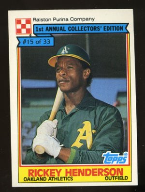 Rickey Henderson 1984 Ralston Purina # 15 Outfield Oakland Athletics HOF