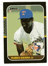 Ruben Sierra Rookie 1987 Donruss # 346 Outfield Texas Rangers