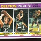Celtics Team Leaders Bird Archibald 1981-82 Topps # 45
