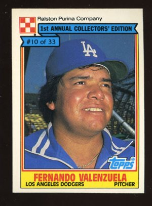 Fernando Valenzuela 1984 Ralston Purina # 10 Pitcher Los Angeles Dodgers