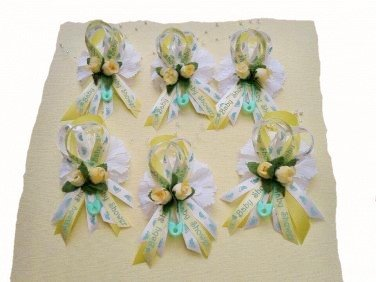 12 Yellow/ Green Baby Shower Corsages/ Capias