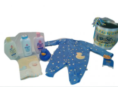 Carter's Newborn Blue/Yellow Duckie Bath Time Gift Can Set