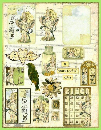 Vintage Carnation Flower Fairy ATC Collage Sheet - Digital Download ONLY