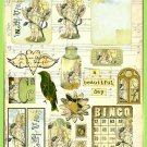 Vintage Carnation Flower Fairy ATC Collage Sheet - Digital Download ONLY