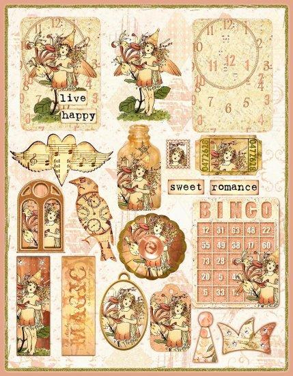 Vintage Honeysuckle Flower Fairy ATC Collage Sheet - Digital Download ONLY