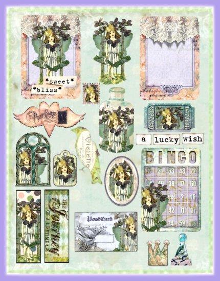 Vintage Violet Flower Fairy ATC Collage Sheet - Digital Download ONLY