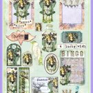 Vintage Violet Flower Fairy ATC Collage Sheet - Digital Download ONLY
