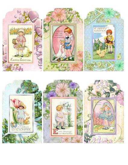 Vintage Easter Children Tags - Digital Download ONLY