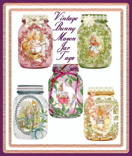 Vintage Easter Bunny Mason Jar Tags - Digital Download ONLY