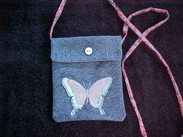 Embroidered Butterfly Denim Bag