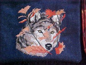 Embroidered Autumn Wolf Denim Bag
