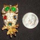 Vintage Rhinestone Owl Brooch / Pin