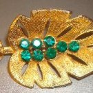 "Vintage Gold Tone Leaf Pin 3"" inch costume jewelry"