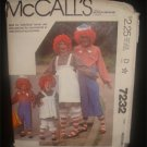 80's McCalls Costume Sewing Pattern 7232 Raggedy Ann and Andy Mens Womans Size Medium CUT