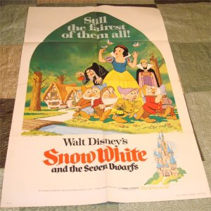 Snow White and the Seven Dwarfs Original Vintage Folded 27 x 41   Movie Poster Rare