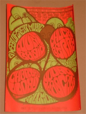 Bill Graham RARE Original FILLMORE 1967 Concert Poster Chuck Berry/Young Rascals +