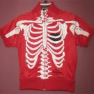 Red PEPE RIB CAGE w/ Black Heart TRACK JACKET PUNK ROCK ROCKABILLY Skeleton (Halloween)