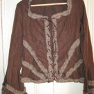 Boho Dark Brown Lace Up front Top w/Flare Sleeve Size Small by Barami