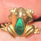 Vintage Avon Gold Tone/ green Frog Tie Tac Pin