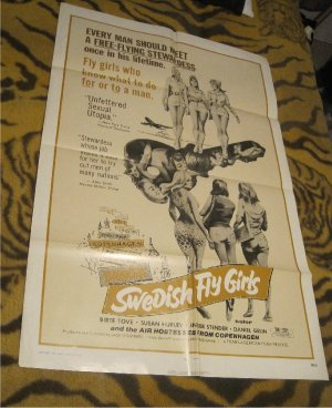 Swedish Fly Girls 1971 Original Movie Poster 1 sheet 72/33  (Sexy Stewardess)Sexpoitation