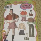 Simplicity Pattern 4390 - Girls Pants, Skirt, Capelet, Bag & Top, Lizzie McGuire, Size 8-16