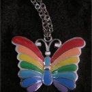 Gorgeous Vintage Rainbow Enamel Butterfly Necklace