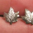 Maple Leaf Earrings ( posts) Silver Tone