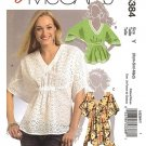 McCalls M5384 Misses Baby Doll top Fun Summer Blouse patterns