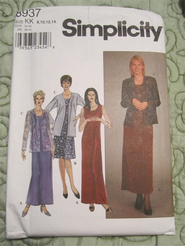 Simplicity 8937 Miss Petite Sleeveless Semi Fitted Dress and Jacket Size 8,10,12,14
