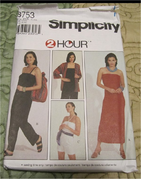Simplicity 8753 Misses' Jacket, Bag, Knit Dress and Jumpsuit Sewing Pattern Size L-XL UNCUT