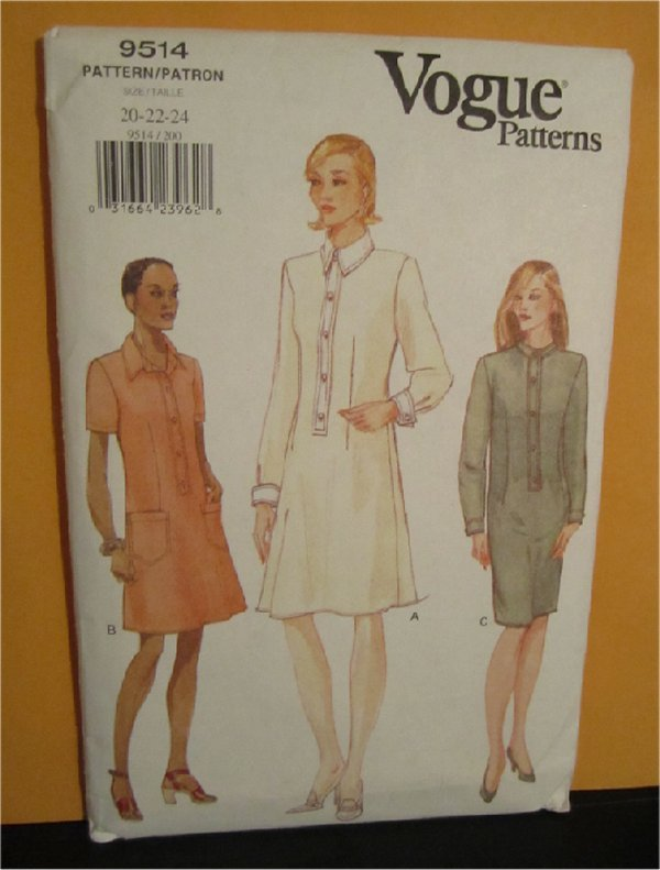 Vogue Sewing Pattern 9514  Size 20,22,24  Semi Fitted ,A-Line /Slightly tapered Pull Over dress