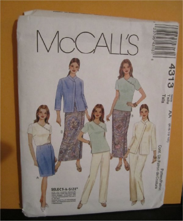 McCall's Select a Size Tops-Bottoms  Lined Jacket,Top, Skirt in two lengths,pants 6,8,10,12 uncut