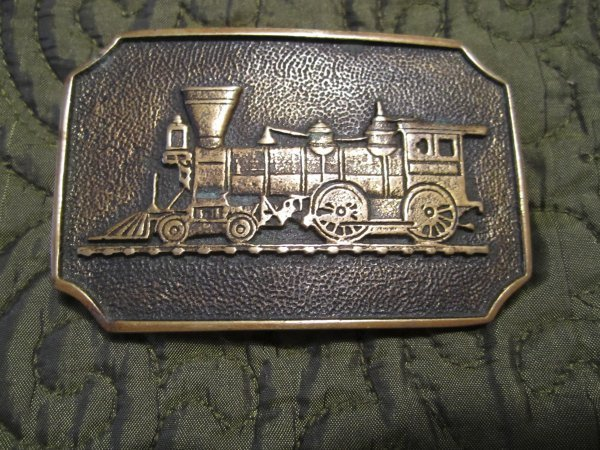 VINTAGE Train Belt Buckle Solid Brass BTS  Made in USA