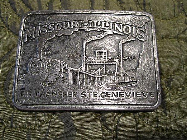 Vintage Missouri Illinois RR Transfer STE .Genevieve Train /Railroad belt Buckle