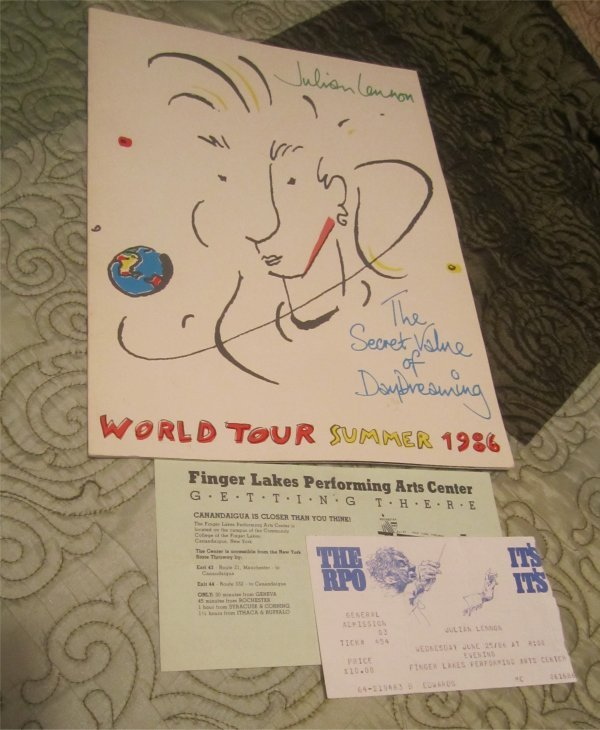 Official Julian Lennon 1986 concert book Tour Program w/ticket stub Finger Lakes NY (Tourbook)