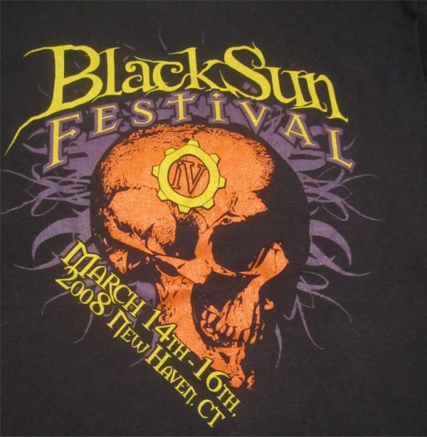 Black Sun Festival  2008 Skull/Skulls Fitted Ladies T-Shirt Size Medium