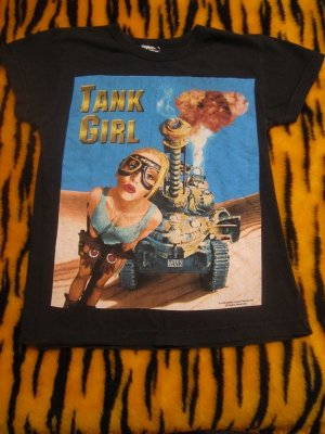 Vintage RARE 1995 Tank Girl Fitted Shirt- size Small  (cult comic / pop culture movie)
