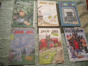 6 Vintage Jack & Jill Childrens 50's  Magazine/Books (Paper Dolls,Puzzles,Stories)FREE SHIPPING