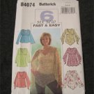 Butterick 4074 pull over Bell sleeve Peasant tops  Size 6,8,10 Sewing pattern