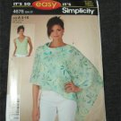 Simplicity 4676 Sewing Pattern Easy Misses Sleeveless Top & Poncho Size 6,8,10,12,14,16