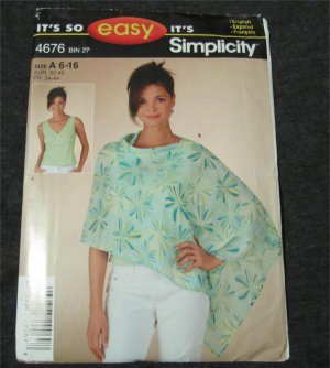 Simplicity 4676 Sewing Pattern Easy Misses Sleeveless Top & Poncho